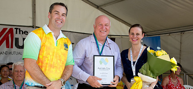Michael Murray receives his award from Mayor Ryan Palmer and Kathy Rimmer