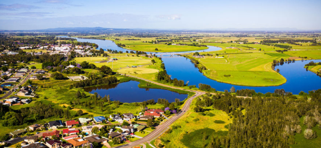 Drone image overlooking Raymond Terrace and surrounds