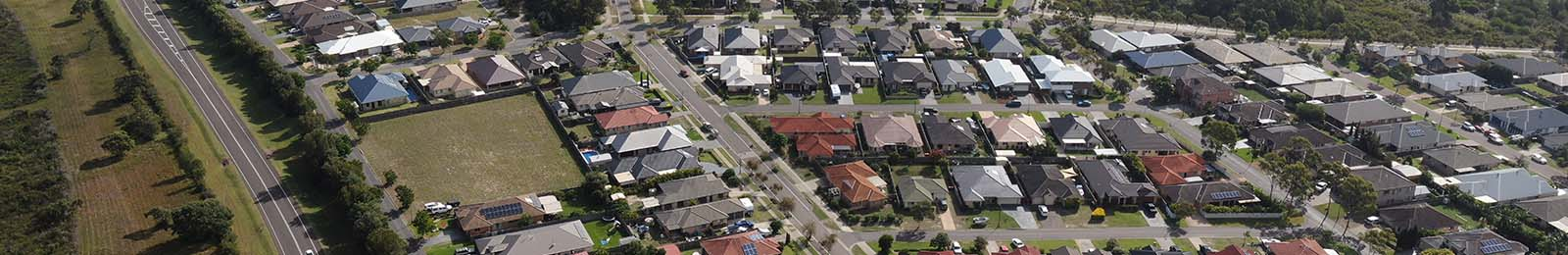 Aerial shot of Tilligerry Point houses