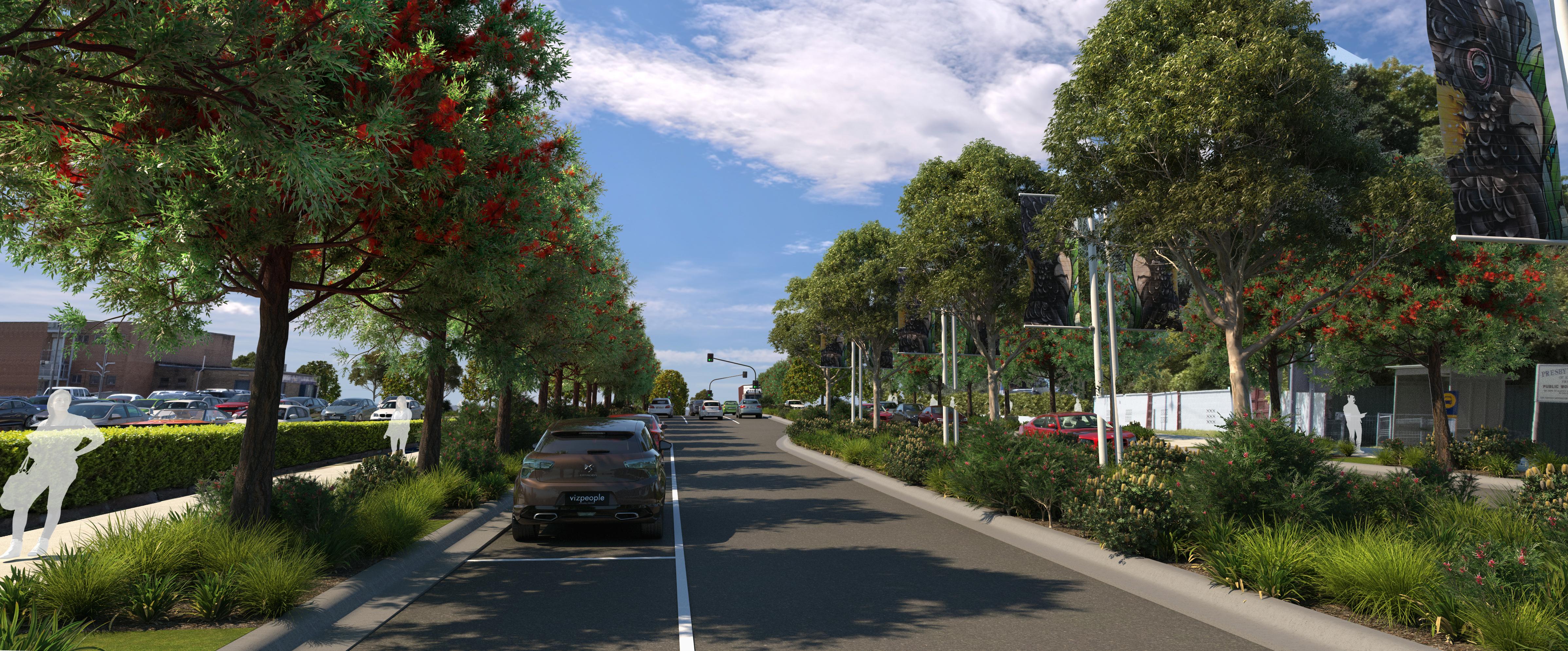 New treelined streetscape of Raymond Terrace