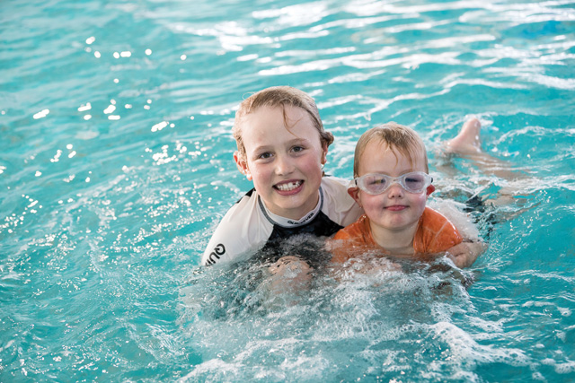 Two young boys swimming at Lakeside Leisure Centre
