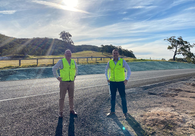 Deputy Mayor Paul Le Mottee and Mayor Ryan Palmer at the newly completed Clarence Town Road construction