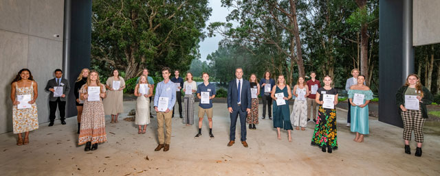 Pictured: The proud recipients of the 2021 Port Stephens Mayoral Academic Scholarships with Mayor Ryan Palmer.