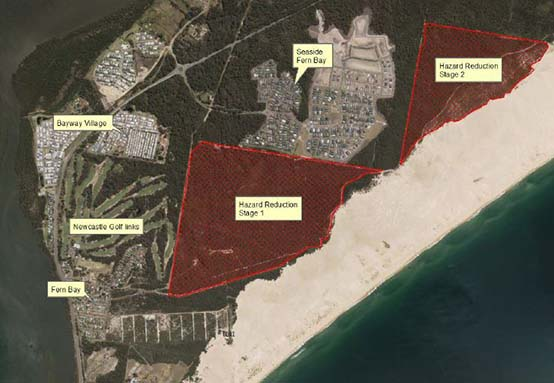 Map of proposed hazard reduction burns in the Worimi Conservation Lands, adjacent Seaside Village.