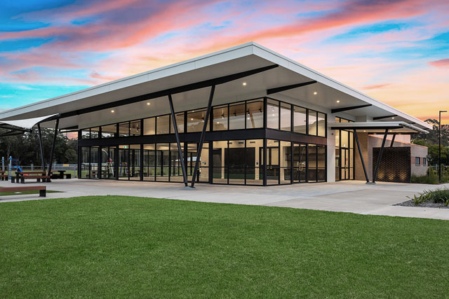 Exterior of Medowie Sport and Community Facility at sunset