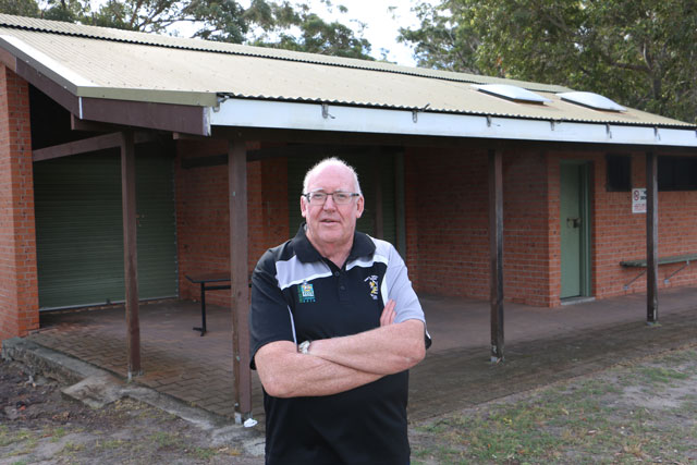 Ray Milton, President of the Nelson Bay Rugby Club standing at Bill Strong Oval clubhouse