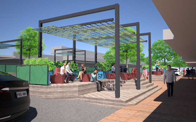 A concept of an art-inspired shade structure, timber decking and seating in William Street, Raymond Terrace