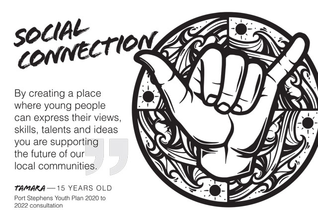 Image of shaka hand with text: Social connection - by creating a place where people can express their views, skills, talents and ideas, you are supporting the future of our local communities.