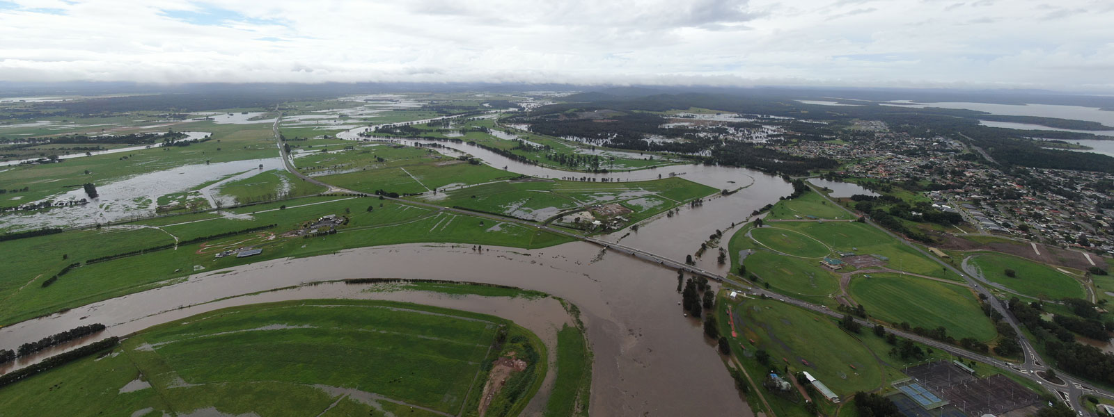 Drone image of rivers at Raymond Terrace and flooding