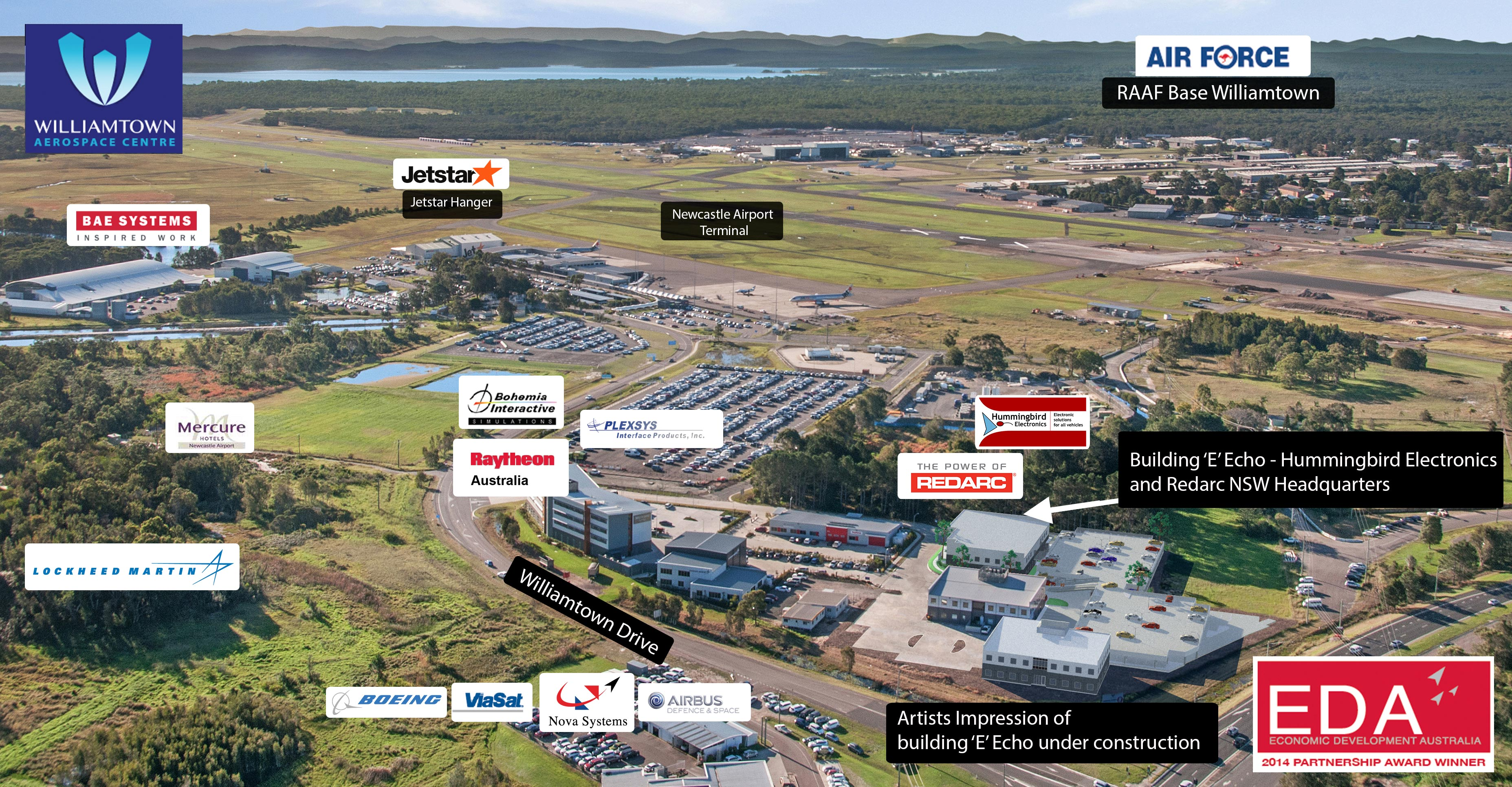 The REDARC Group's Hummingbird Electronics, will be located in Building E within the Williamtown Aerospace Centre and is due to be completed in June 2017, ...