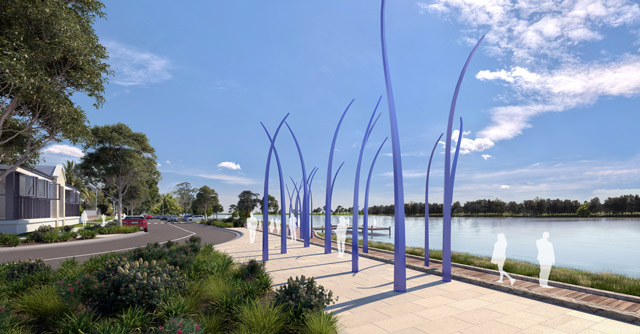A concept drawing of blue artistic structures rising from a new pathway along the riverside