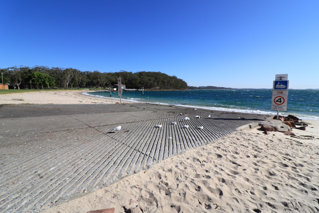 Little Beach boat ramp on a sunny day
