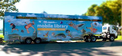 Visiting 14 locations throughout the Port Stephens LGA, the Mobile Library provides access to 10,000 items on board!