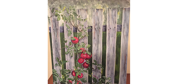 Painting of Fence with tomato vine