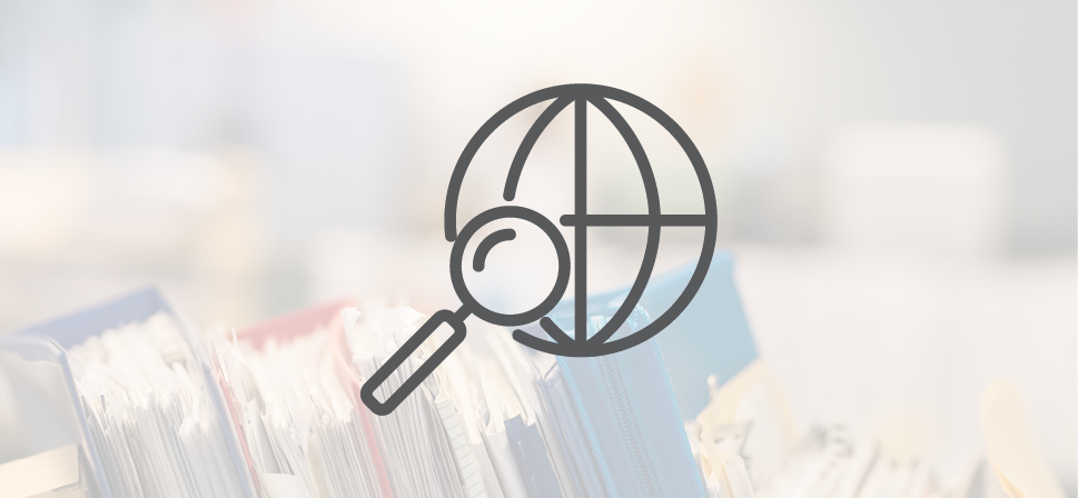 Icon of magnifying glass and image of fire in the background