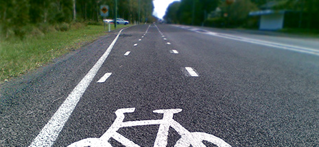 Closeup of road with bike lane