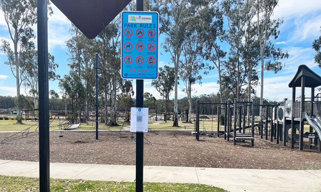 QR check-in code signage installed across Port Stephens Council parks