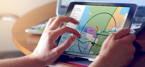 Planning map on digital tablet