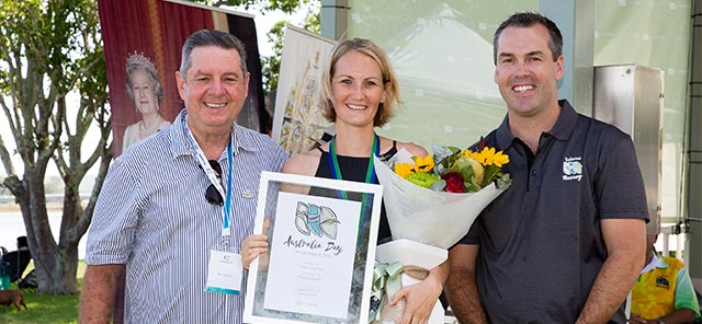 Port Stephens Citizen of the Year Alicia Cameron with ambassador Ron Delezio and Mayor Ryan Palmer