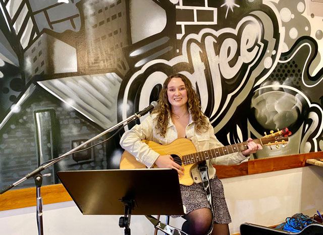 Megan Snow performing live at the Naked Alley Café in Nelson Bay
