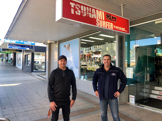 Port Stephens Mayor Ryan Palmer with local business owner Simon Law of Tsunami Surfer in Nelson Bay