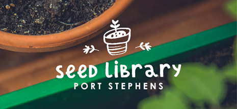 Image of potted herbs with seed library logo