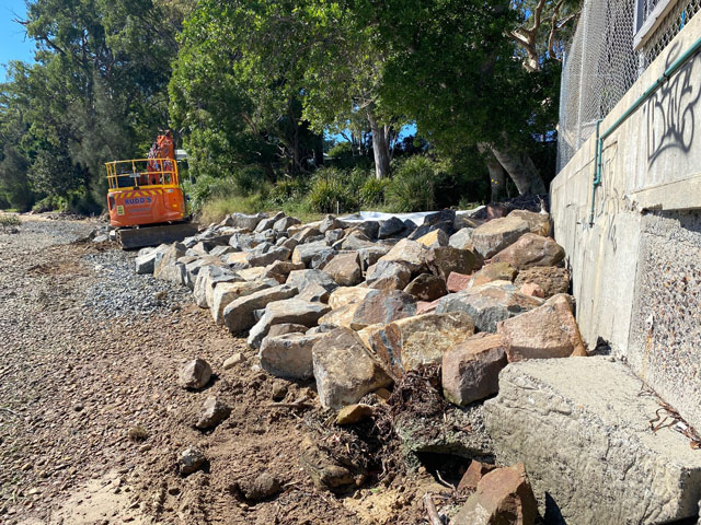 Construction of the new revetment rock wall at Soldiers Point