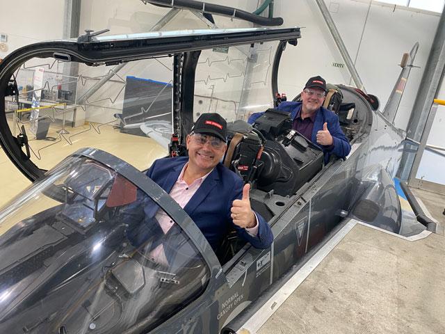 Deputy Premier and Deputy Mayor sitting in RAF fighter jet