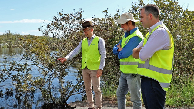 Council staff and Mayor Ryan Palmer looking and pointing at the washed away road