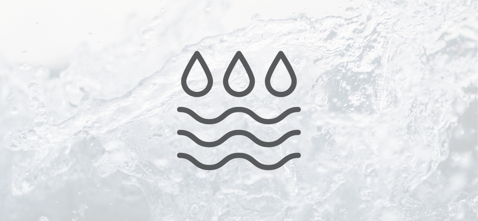 Icon of flood and image of rushing water